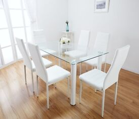 Glass Dining Table White Toscano