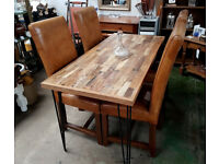 Modern Rustic Industrial Style Dining Table from Reclaimed Wood from a Yacht