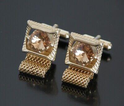 Around Crystal - Vtg Jeweled Amber Stone Wrap Around Cufflinks Crystal Gold Tone Square