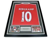 X1 Dennis Bergkamp Signed FRAMED Shirt Photo Autograph Arsenal Name #10