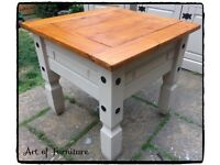 "Rustic Pine Mexican Corona Coffee Table Hand Painted in Butterscotch Chalk Paint ""Upcycled """