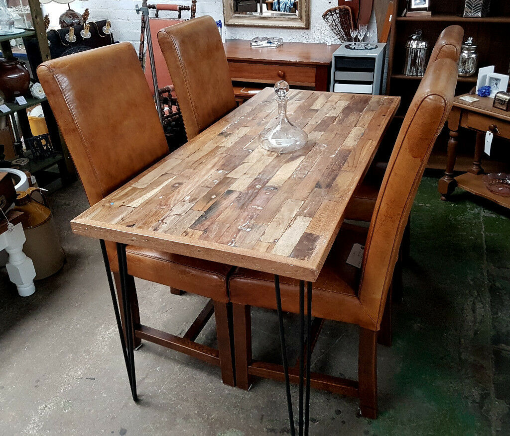 Modern Industrial Dining Table Sets: Modern Rustic Industrial Style Dining Table From Reclaimed