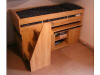 Gautier Cabin Bed - mid height bed, pull-out desk, cupboards, drawers and storage stairs