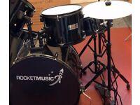 5 Piece Drum Kit + Stool + Drumsticks