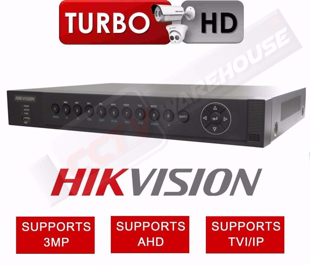 4 CHANNEL HIKVISION DS-7204HUHI-F1-N DVR 3MP TURBO 3.0 1080P AHD TVI CVBS