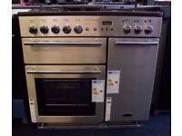 Rangemaster Platinum 90 Dual Fuel Range Cooker Freestanding Stainless Steel