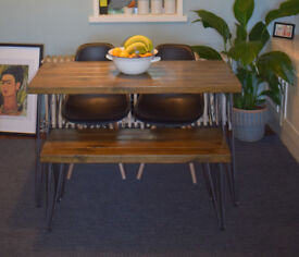 140x7 Industrial Kitchen Table & Bench x 2 chairs Mid Century Style hairpin Leg