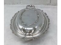Antique EPNS A1 Silver Plate Oval Serving Dish with Handles and Scroll Design