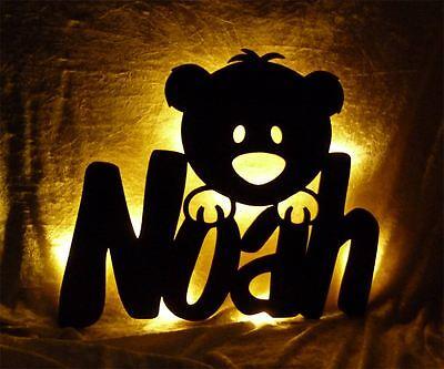 Teddy Lampe Nachtlicht mit Name nach Wunsch - Geschenke für Teddybär Fans