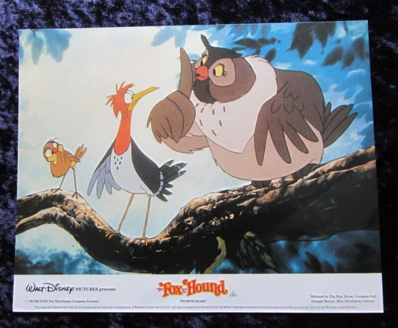 THE FOX and the HOUND lobby card #3 WALT DISNEY mini uk card - 8 x 10 inches
