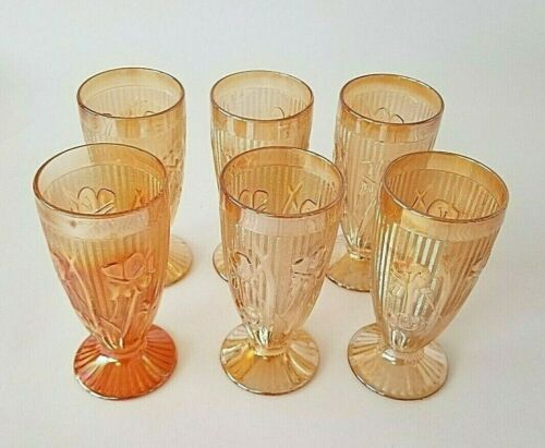 Jeannette Glass Marigold Iris & Herringbone Footed Tumblers Set Of 6