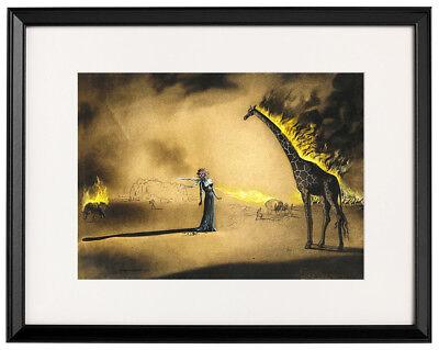 Salvador Dali Burning giraffe canvas print framed giclee 12,8
