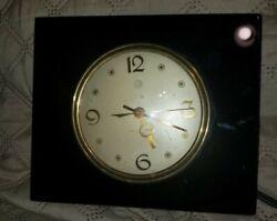 Vtg.General Electric elec. clock -black marble-onyx Art Deco model#3H172 WORKS!
