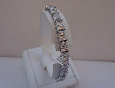Baguette Tennis Bracelet -  925 STERLING SILVER LADIES TENNIS BRACELET W/ 40 CTS  BAGUETTE  DIAMONDS /7 1/2