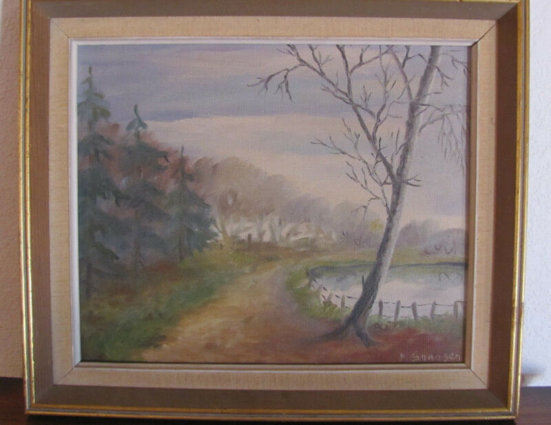 Danish Landscape Original Framed Oil Painting VINTAGE DENMARK signed 15 1/2 X 13