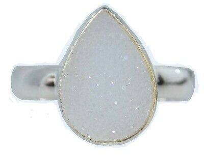 White Drusy 925 Sterling SILVER Ring Natural Gemstone Druzy; All Sizes K to Y