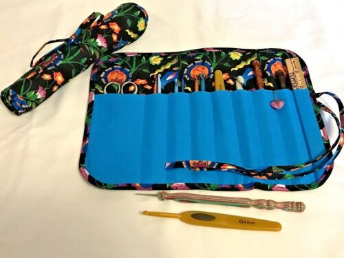 Handmade FANCY FLOWERS Quilted cotton fabric crochet hook case / holder