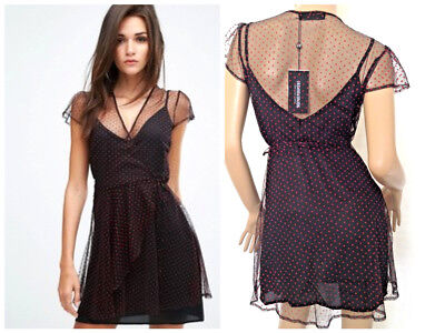 FASHION UNION~Black Mesh/Red Flock Polka Dot Dress~ Size 6  (15)