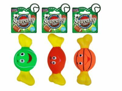 Set of 3 Squeaky Sports Squeaky Chew Fetch Indoor Pet Dog Toys 3 Types App 17cm