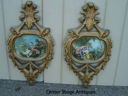 59607  Pair Of  Decorator Wall Plaque Picture Decorations