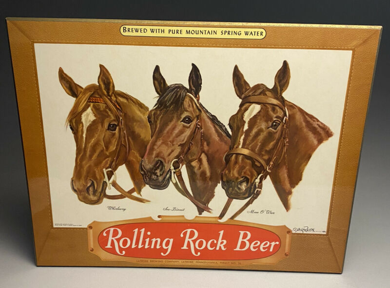 Vintage Rolling Rock Beer Counter Display Sign Triple Crown Winners Horse Racing