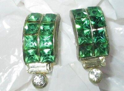 ART DECO vintage GREEN clear RHINESTONE screw on back earrings VGUC
