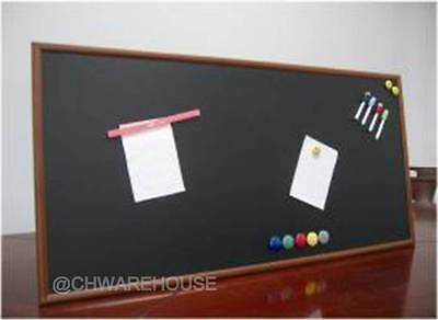 "24"" x 48"" Magnetic Black Chalk Board Dark Tone Wood Frame & Reinforced Backing"