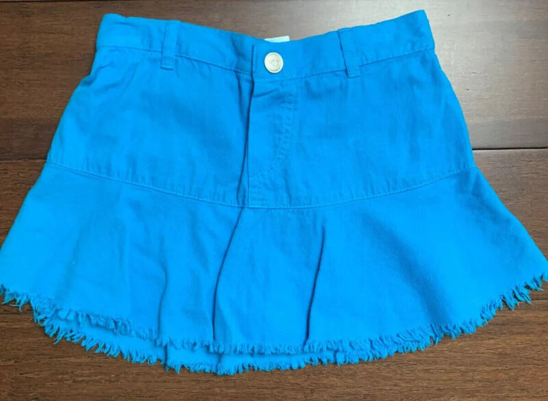 Tooshy Girls Boutique Size 6 Blue Corduroy Skirt With Shorts Underneath