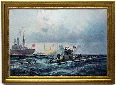"""""""U-27"""" wird von """"Baralong"""" angegriffen, 1915 . Kunstdruck, edel gerahmt"""