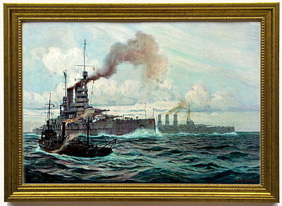 "Großkampfschiff ""Bayern"", 1917 . Kunstdruck, edel gerahmt"