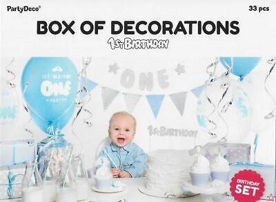 urtstag 33 Deko Teile für den 1. Kindergeburtstag  bleu Jung (1. Geburtstag Party Für Junge)