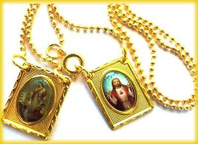 Scapular Medal Vintage Catholic Guardian Angel Sacred Heart Jesus 18k Gold