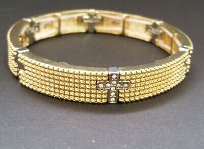 Gold-tone Textured Metal stretch Bracelet w/ silver-tone/crystal Cross N6-3/22 (Textured Metal)