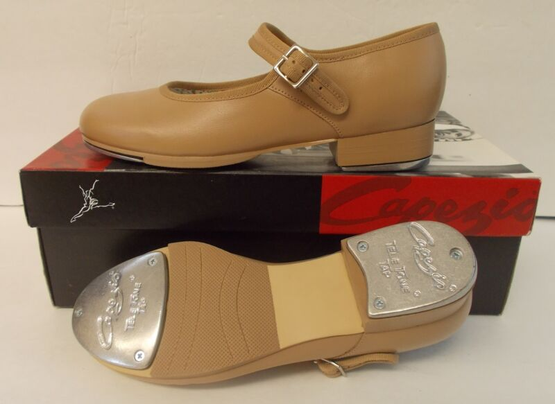 """Capezio Mary Jane 3800 Carmel Leather Tap Shoes Adult 9.5M Heel-Toe 10 1/4"""" NEW"""