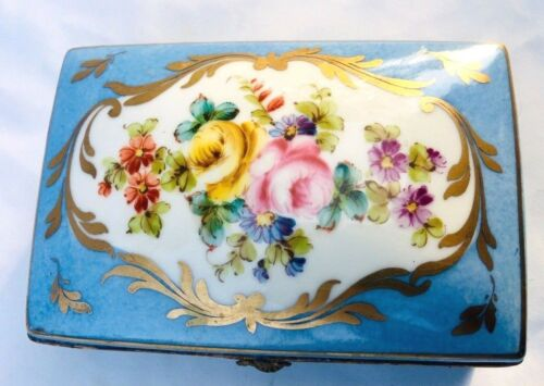 Antique Large Hand Painted France Porcelain Jewelry Dresser Trinket Casket Box
