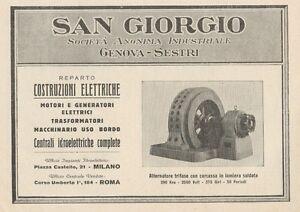 Z1205 Alternatore Trifase SAN GIORGIO - Pubblicità d'epoca - 1932 Old advert - Italia - L'oggetto può essere restituito - Italia