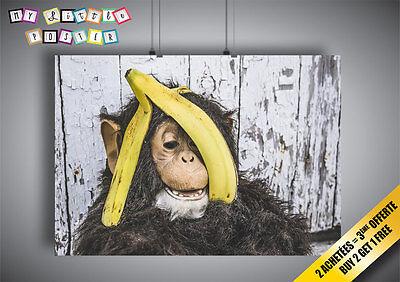 Plakat Affe Kostüm und banane auf la kopf