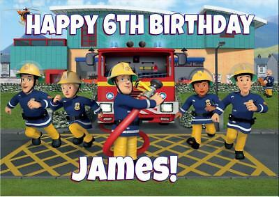 FIREMAN SAM PERSONALISED BIRTHDAY CARD - ANY NAME AGE RELATION