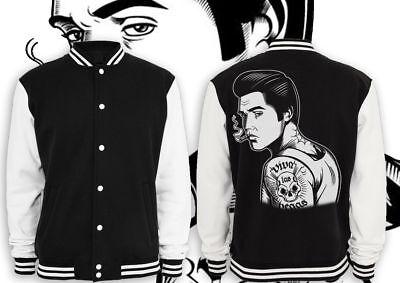 Elvis Jacke (Elvis Presley Tattoo  2 Collegejacke Schwarz Fun Kult biker rocker rockabilly)