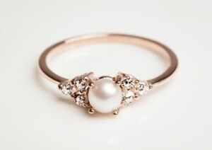14k Rose Gold Engagement Ring with Pearl and Diamond Ring