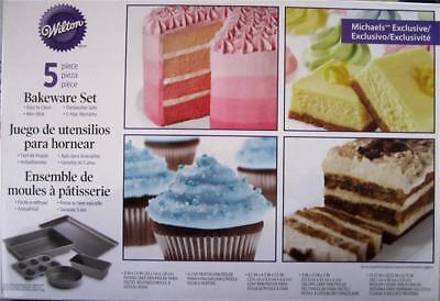 Wilton Cookie Stick (Wilton 5 Pc No-stick Bakeware Set: Cupcake round Pan rectangle loaf cookie)