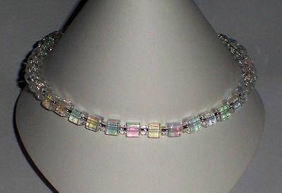 """Crystal AB Stretch Cube Anklet Bracelet 10"""""""