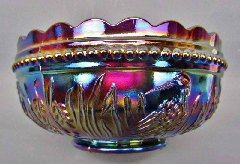 "L. G. Wright STORK & RUSHES Amethyst Carnival Glass Round 4½"" Berry Bowl B479"