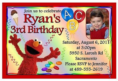 ELMO Sesame Street BIRTHDAY PARTY INVITATIONS - Elmo Birthday Party Invitation