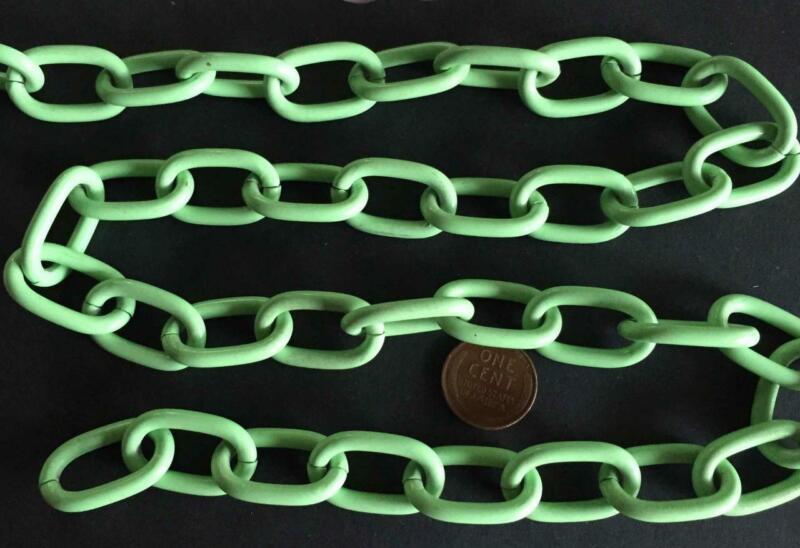 Vintage Green Enameled Metal Large Link Chain 1 Foot