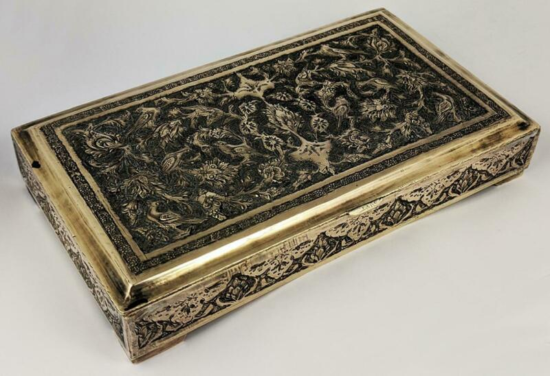 QAJAR ISLAMIC ANTIQUE SILVER PLATE / WHITE METAL CIGARETTE BOX c1920