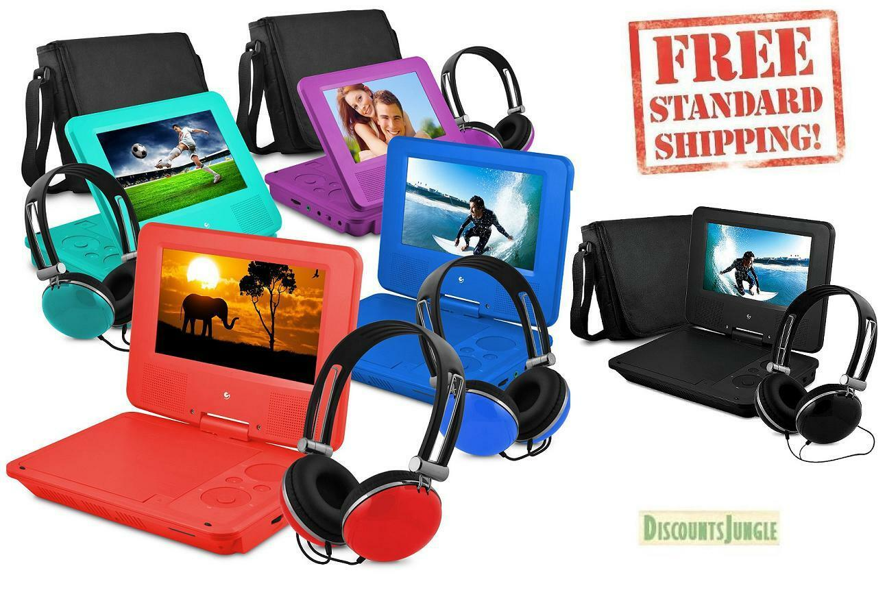 """7"""" Portable Personal DVD Player w/Headphones &Carry Case Kid"""