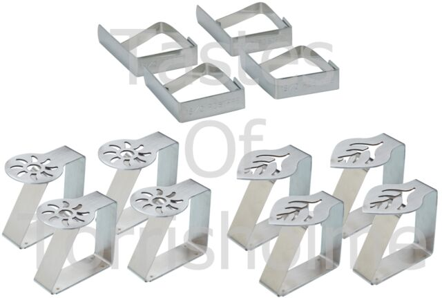 Kitchen Craft Pack of 4 Stainless Table Cloth Cover Clips Holders Fasteners