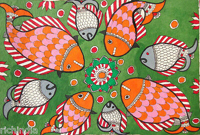Fish in river  Watercolor Drawing  Madubani Folk Artwork Painting art Gallery