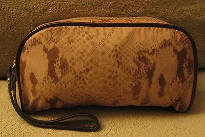 B. MAKOWSKY Brown Signature Nylon & Faux Leather Wristlet Wallet Cosmetic Bag for sale  East Setauket